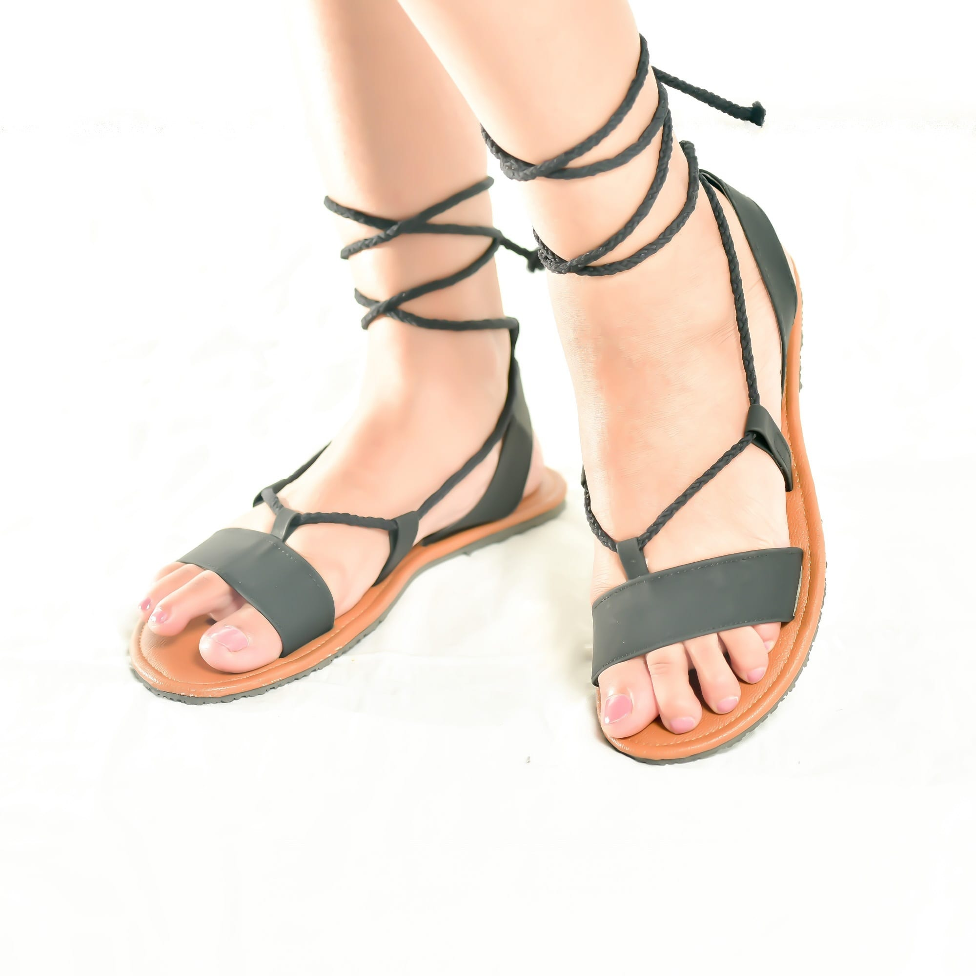 Black Slip-on Tie-up Sandals